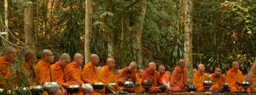 Monks at Suan Mokkh, Thailand.